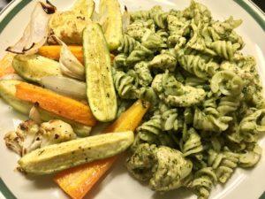 Chicken Brown Rice Pasta in Green Pesto